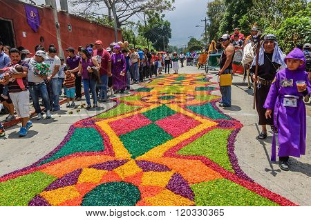 Colorful Holy Week Carpet, Antigua, Guatemala