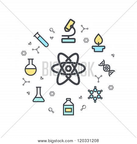 Science line flat icons. Chemical equipment labs flat icons. Circle background. Minimal icons.