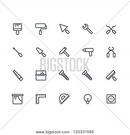House remodeling tools. House remodel elements. Repair and construction tool adn equipment icon set.