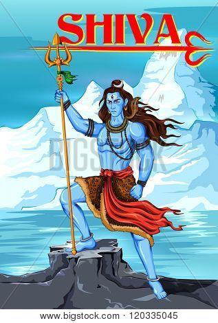 illustration of Lord Shiva, Indian God of Hindu