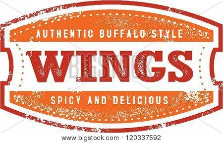 Buffalo Chicken Wings Menu Stamp