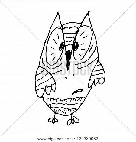 Strange funny surprised owl line art hand drawing