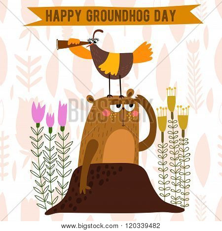 Happy Groundhog Day Design With Cute Groundhog. Lovely Card With Cute Groundhog For Your Design.