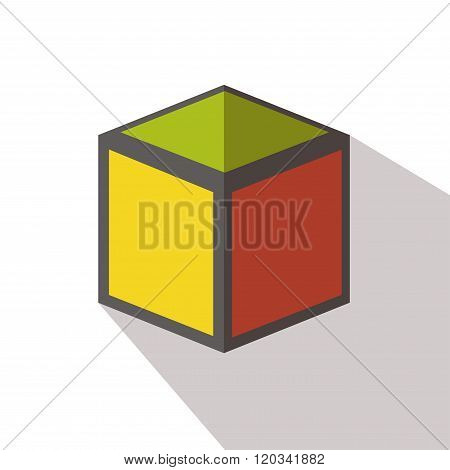 Cube icon flat vector isolated elements long shadow