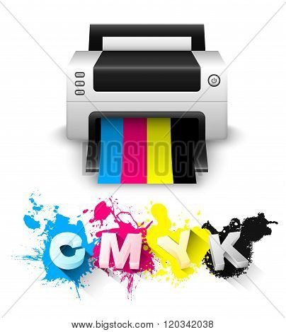 Cmyk Print Concept With Printer And 3D Letters