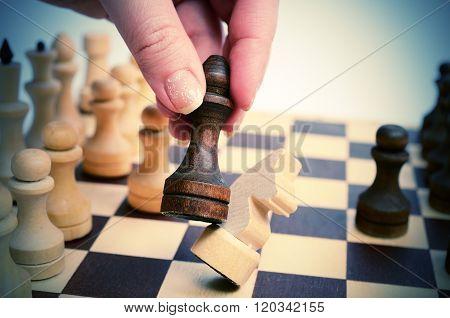 Pawn beats horse.