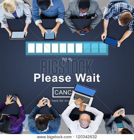 Please Wait Loading Waiting Transfer Anticipation Concept