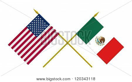 Flags, Mexico And Usa