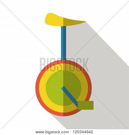 Unicycle icon flat vector side view isolated