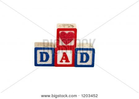 heart dad on white with path in block letters poster