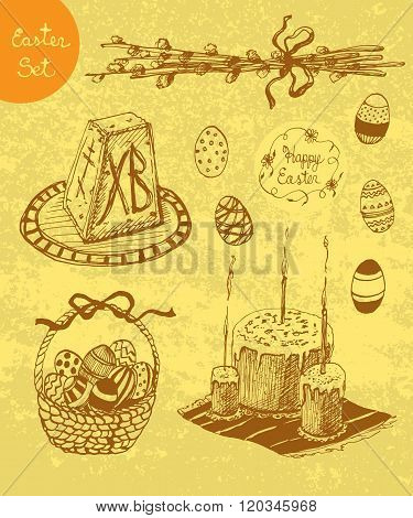 Vector Hand Drawn Set For Orthodox Easter.