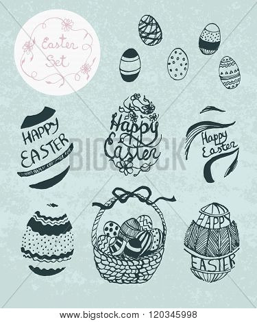 Vector Hand Drawn Set For Easter.