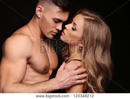 Beautiful Sexy Couple. Gorgeous Blond Woman And Handsome Man