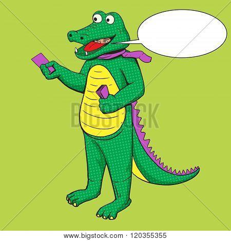 Man in crocodile suit pop art vector