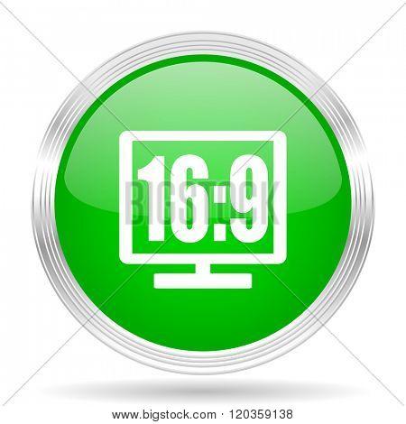 16 9 display green modern design web glossy icon