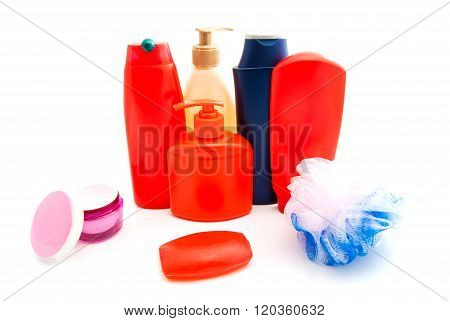 shampoo shower gel and other toiletry on white closeup poster