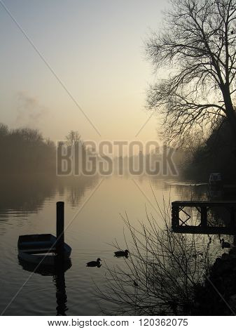 Misty evening on the River Thames