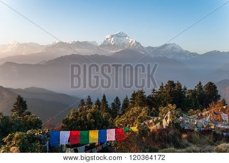 Amazing Panoramic View Of The Himal Mountains At Sunset