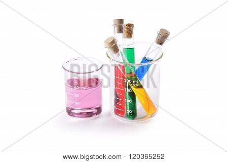 Colorful test tubes and beakers
