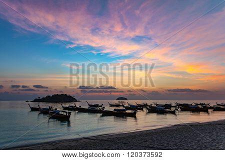 Sunrise At Koh Lipe Island And Longtail Boat - Thailand