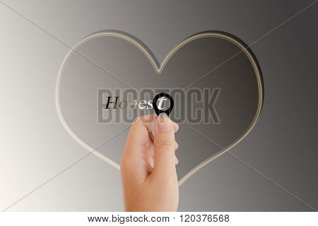 Isolated Hand With Lens And Text Honest With Heart Shape On Platinum