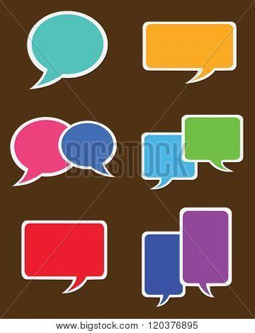 Vector Speech Bubble Sticker Set