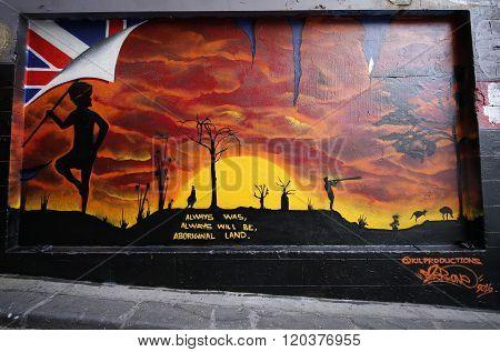 Mural art by KIL Productions at Hosier lane in Melbourne.