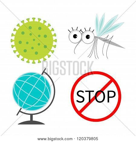 Virus Zika Icon Set. Mosquito. Cute Cartoon Insect Character. Stop Red Sign World Globe Flat Design.