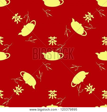 Seamless pattern in the Chinese style. Tea leaves, teapot, hieroglyph tea. The Chinese characters Te