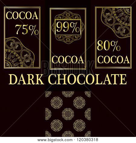 Vector set of design elements and seamless pattern for dark chocolate and cocoa packaging - labels a