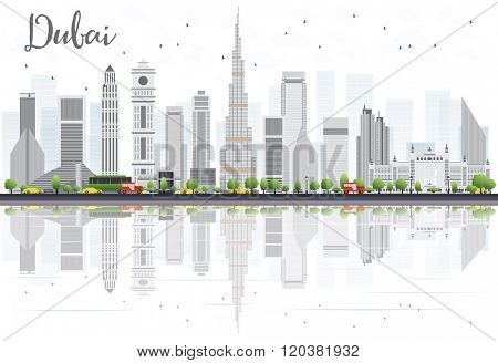 Dubai City skyline with Gray Skyscrapers and Reflections Isolated on White. Vector illustration. Business Travel and Tourism Concept with Modern Buildings. Image for Presentation Banner Placard.