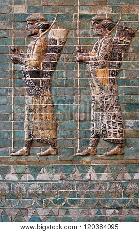 Embossed Colorful Achaemenid Soldiers From Susa Of Iran