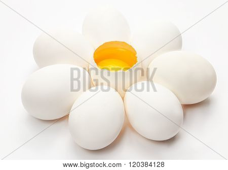 Five chicken eggs on a white background