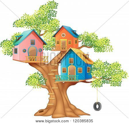 Illustration of a colorful tree house