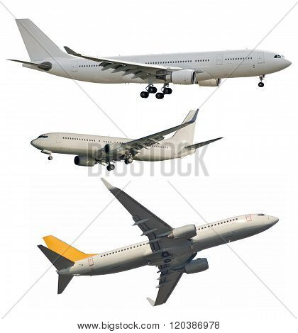 Passenger Jets Isolated On White