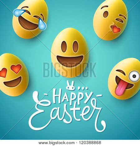 Happy Easter poster, easter eggs with emoji faces