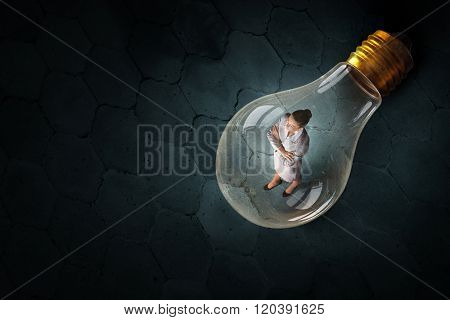 Woman inside of idea