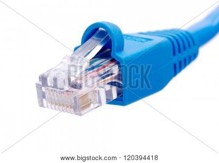 Lan cable and connector on white background