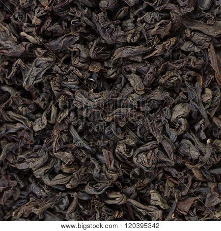 Black Tea Leaves Background. Texture of fragrant tea.