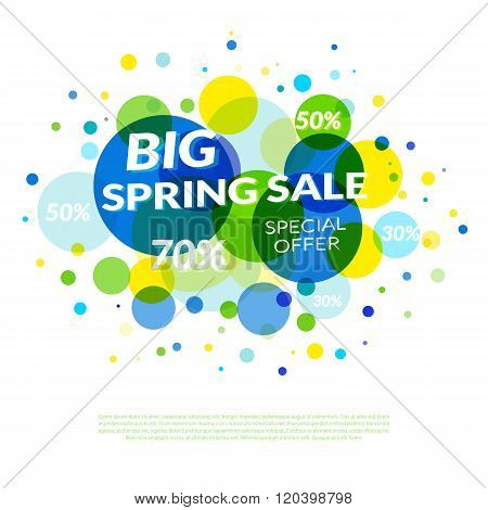 Big Spring Sale. Banner design template with circles.