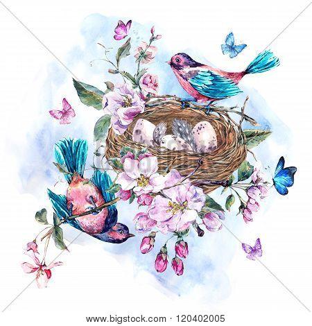 Vintage watercolor spring greeting card with pink flowers bloomi