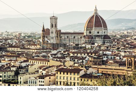 Florence (Italian: Firenze alternative obsolete form: Fiorenza; Latin: Florentia) is the capital city of the Italian region of Tuscany and of the province of Florence. Beautiful historic urban scene. Cradle of the renaissance. poster