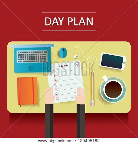 vector illustration of yellow table with day plan blank and different objects