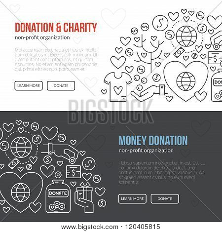 Banner template with charity and donation icons and symbols. Line style vector illustration. Charity work hro image or web site design for non-profit.