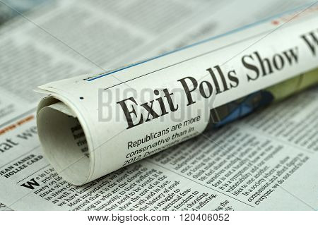 Rolled Newspaper With Election 2016 Article.