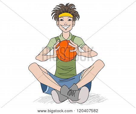 Teenager With A Basketball Ball