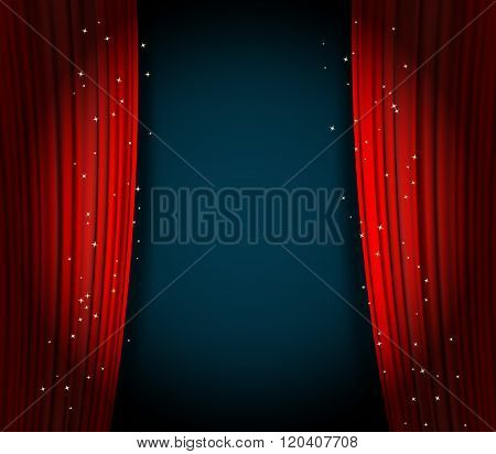 red curtains background wuth glittering stars. open curtains as theater or movie presentation background or cinema award announcement with space for text. vector template for Your design