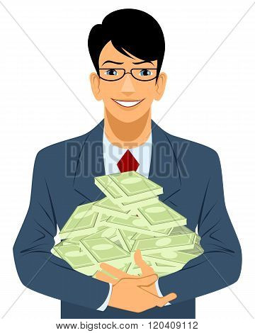 Vector illustration of a businessman with lot of money poster