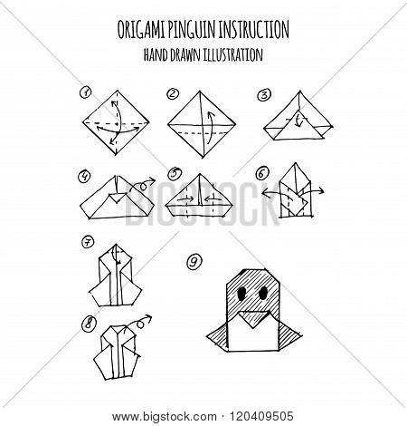 hand drawn illustration step by step of pinguin origami