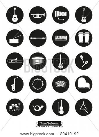 Musical Instruments Round Vector Icon Set. Collection Of 20 Musical Instruments Symbols, negative in black circles